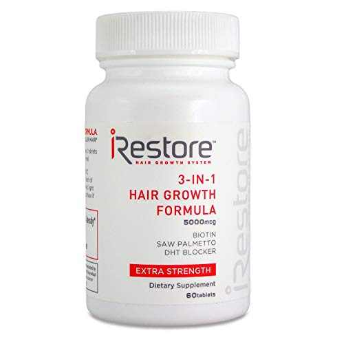 iRestore Fast Hair Growth Bundle includes the 3-in-1 Hair Growth Supplement, Hair Growth Serum, and Hair Growth Shampoo to combat hair loss