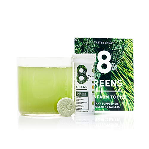 8Greens Effervescent Super Greens Dietary Supplement - 8 Essential Healthy Real Greens in 1-60 Tablets (6 Tubes)
