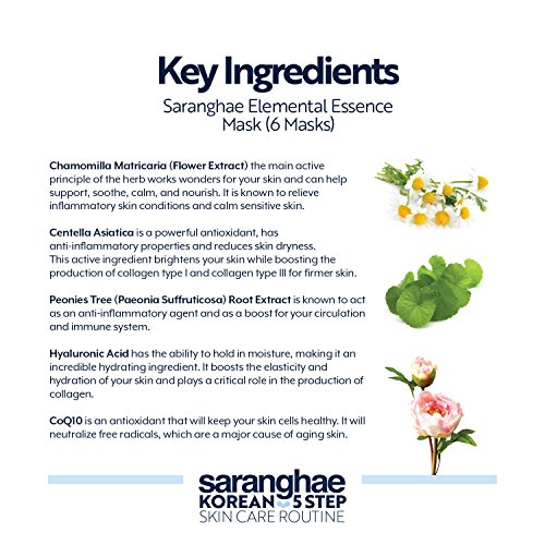 Saranghae Elemental Essence Sheet Masks (6 Pack): Made With A Blend Of Korean Botanicals To Help Calm Inflamed Skin and Provides A Surge Of Moisture To Maximize Brightness And Hydration In The Skin