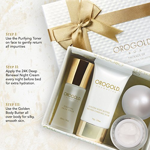 24K Luxury Gift Set for Women | Authentic Gold Travel Skin Care Set From Orogold |24K Facial Toner | Gold Flecked Night Cream For Tired Skin | Gilded Body Butter For Smooth Skin| Bashful in Gold!