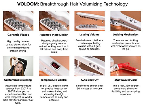 VOLOOM Classic 1 1/2 Inch Volumizing Hair Iron. A revolutionary hair lifter designed specifically to add large volume and lift to hair. The only hair volumizer patented for checkerboard design.